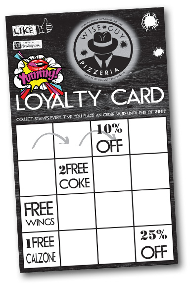 Wise Guy Pizzeria Ban Pong Loyalty Card Wise Guy Pizzera Ban Pong WiseGuy Pizzeria Wise Guy Pizza